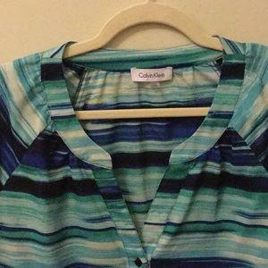 Calvin Klein aqua blue tones blouse tunic